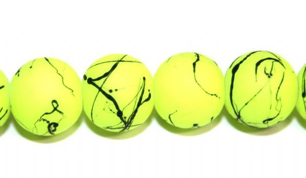 42pieces x 10mm neon yellow colour rubber coated glass beads with black abstract design -- 3005006